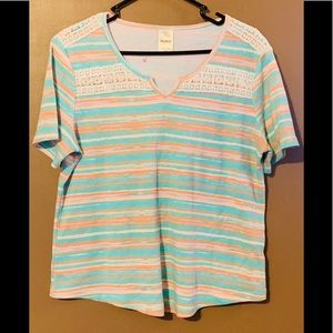 Blair Tee with Stripes with Crochet Trim